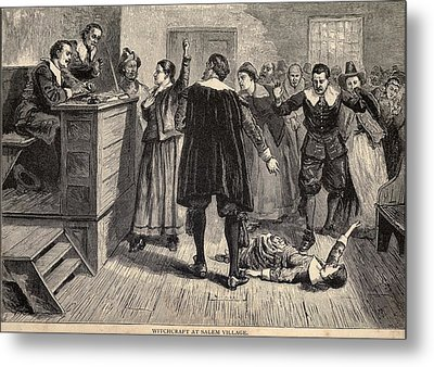 Salem Witch Trials. A Women Protests Metal Print by Everett