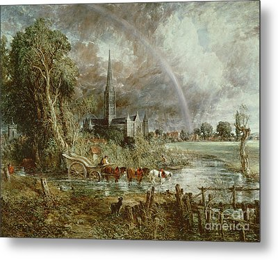 Salisbury Cathedral From The Meadows Metal Print by John Constable