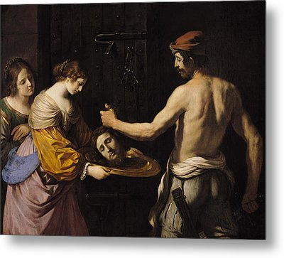 Salome Receiving The Head Of St John The Baptist Metal Print by Giovanni Francesco Barbieri