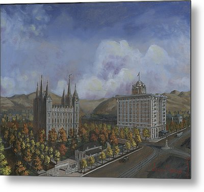 Salt Lake City Temple Square Nineteen Twelve Right Panel Metal Print by Jeff Brimley