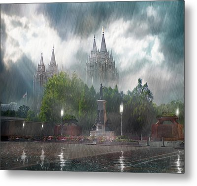 Salt Lake Temple - Refuge From The Storm Metal Print by Brent Borup