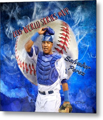 Salvador Perez 2015 World Series Mvp Metal Print by Colleen Taylor