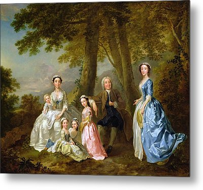 Samuel Richardson Seated With His Family Metal Print by Francis Hayman