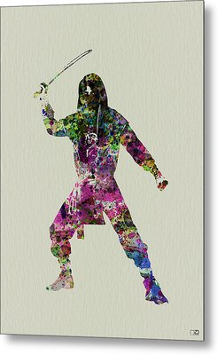 Samurai With A Sword Metal Print by Naxart Studio