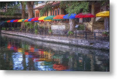 San Antonio Riverwalk Colors Metal Print by Joan Carroll