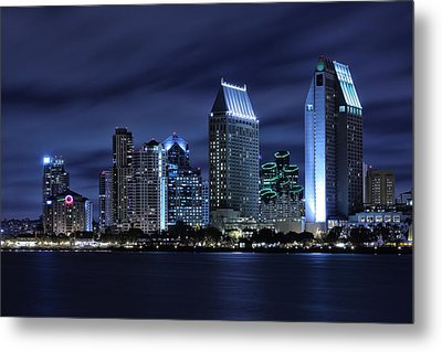 San Diego Skyline At Night Metal Print by Larry Marshall
