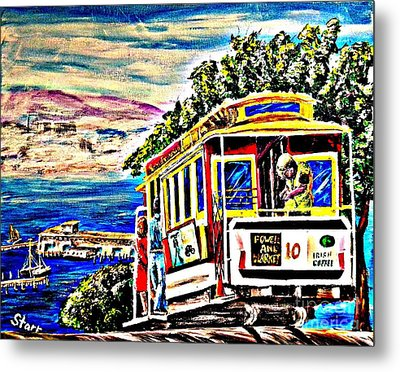 San Francisco Cable Car Art Metal Print by Irving Starr