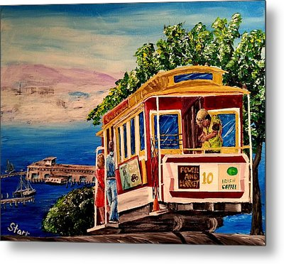 San Francisco Cable Car Metal Print by Irving Starr