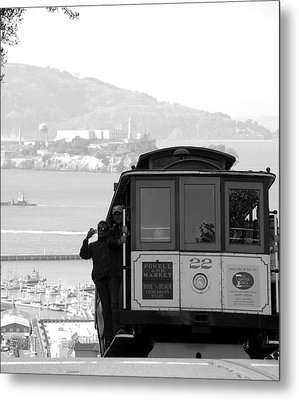 San Francisco Cable Car With Alcatraz Metal Print by Shane Kelly
