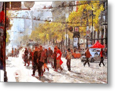 San Francisco Market Street . 40d3701 Metal Print by Wingsdomain Art and Photography