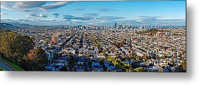 San Francisco Skyline From Bernal Heights Park At Sunset - San Francisco California Metal Print by Silvio Ligutti