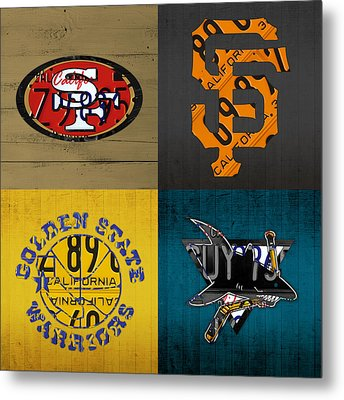 San Francisco Sports Fan Recycled Vintage California License Plate Art 49ers Giants Warriors Sharks Metal Print by Design Turnpike