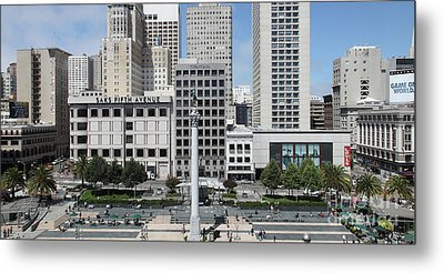 San Francisco Union Square 5d17938 Panoramic Metal Print by Wingsdomain Art and Photography