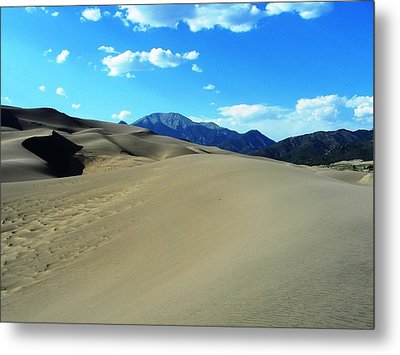 Sand And Mountains Metal Print by Peter  McIntosh