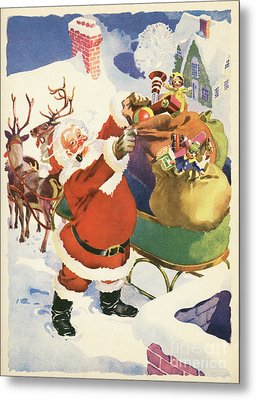 Santa And His Bags Of Toys On Christmas Eve Metal Print by American School