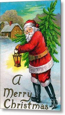 Santa Carrying A Christmas Tree Metal Print by American School