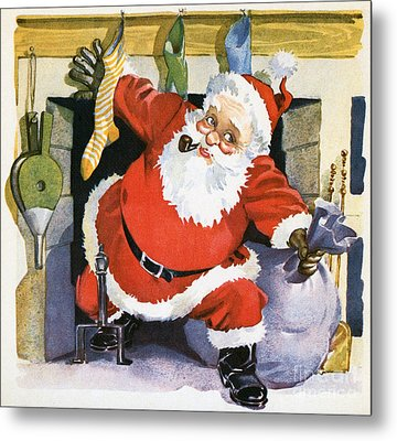 Santa Claus Emerging From The Fireplace On Christmas Eve Metal Print by American School