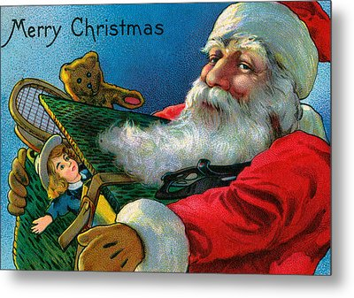 Santa Claus Holding Toys Metal Print by American School