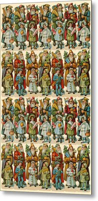 Santa Claus With Children Metal Print by American School