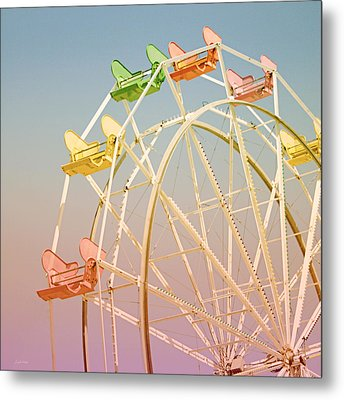 Santa Cruz Ferris Wheel Metal Print by Linda Woods