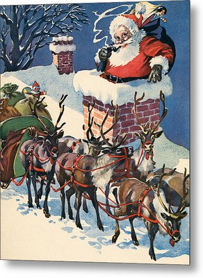 Santa Going Down A Chimney On Christmas Eve Metal Print by American School