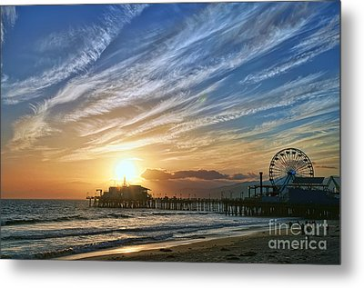 Santa Monica Pier Metal Print by Eddie Yerkish