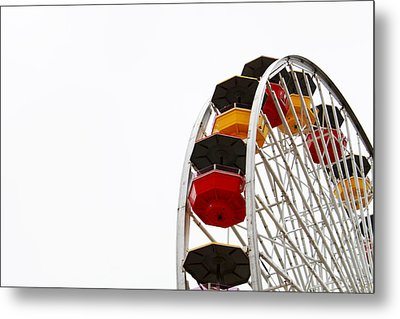 Santa Monica Pier Ferris Wheel- By Linda Woods Metal Print by Linda Woods