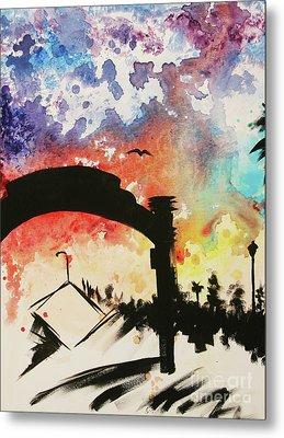 Santa Monica Pier - Left Side Three Of Three Metal Print by Ashlynn Apffel