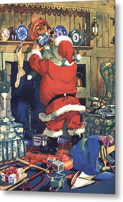 Santa Stuffing Stockings With Toys On Christmas Eve Metal Print by American School