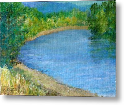 Santiam River - Summer Colorful Original Landscape Metal Print by K Joann Russell