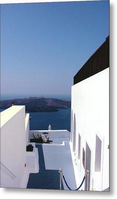 Santorini Blue Metal Print by Julie Palencia