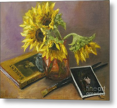 Sargent And Sunflowers Metal Print by Lisa  Spencer