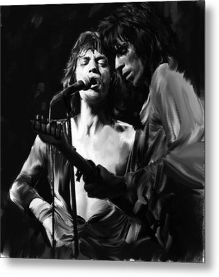 Stage Life  Mick Jagger Keith Richards Rolling Stones Metal Print by Iconic Images Art Gallery David Pucciarelli