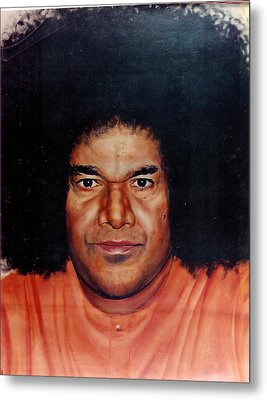 Sathya Sai Baba- Full Face Metal Print by Anne Provost