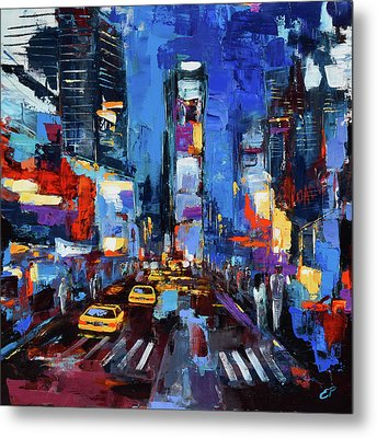 Saturday Night In Times Square Metal Print by Elise Palmigiani