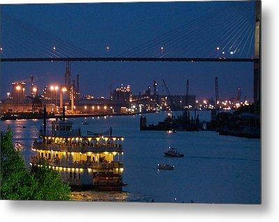 Savannah Harbor At Night Metal Print by Leslie Lovell