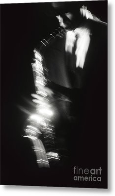 Sax Player 3 Metal Print by Tony Cordoza