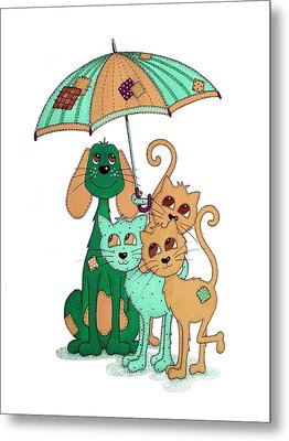 Scarecrow Dog Cats And Brolly Metal Print by Sandra Moore