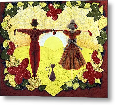 Scarecrow Sunset Metal Print by Sandra Moore