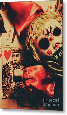 Scary Doll Dressed As Joker On Playing Card Metal Print by Jorgo Photography - Wall Art Gallery