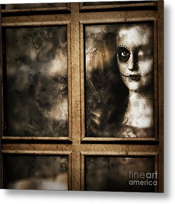 Scary Murderer Standing By The Window With Handgun Metal Print by Jorgo Photography - Wall Art Gallery