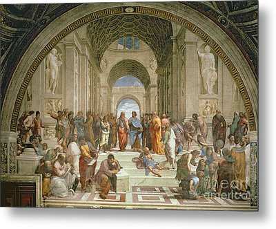 School Of Athens From The Stanza Della Segnatura Metal Print by Raphael