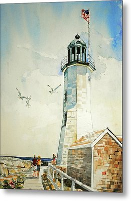 Scituate Light Metal Print by P Anthony Visco