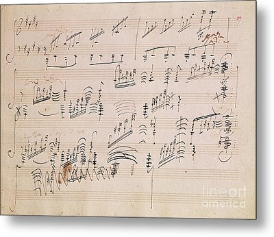 Score Sheet Of Moonlight Sonata Metal Print by Ludwig van Beethoven