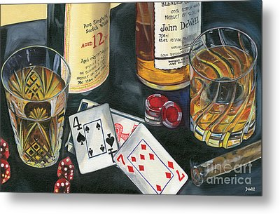 Scotch Cigars And Cards Metal Print by Debbie DeWitt