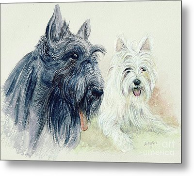 Scottie And Westie Metal Print by Morgan Fitzsimons