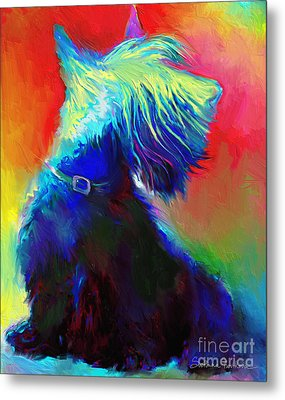 Scottish Terrier Dog Painting Metal Print by Svetlana Novikova