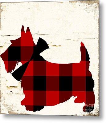Scottish Terrier Tartan Plaid Metal Print by Mindy Sommers