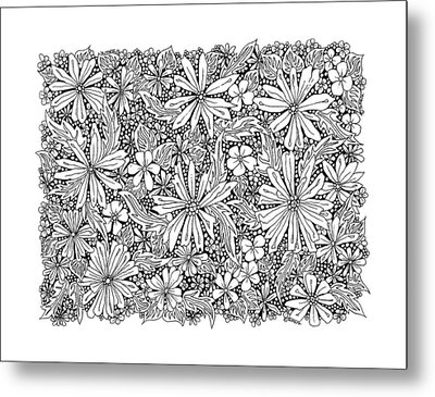 Sea Of Flowers And Seeds At Night Horizontal Metal Print by Tamara Kulish