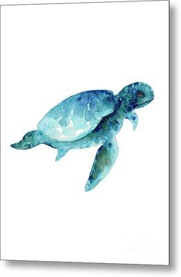 Sea Turtle Abstract Painting Metal Print by Joanna Szmerdt